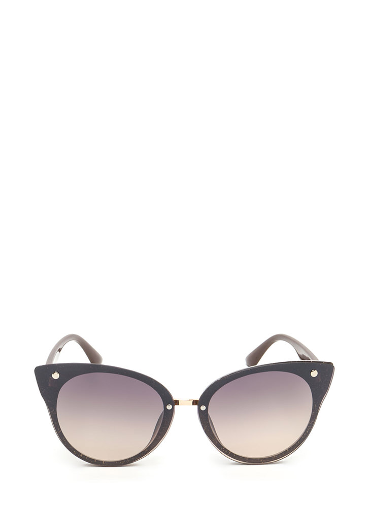 Behind These Cat Eye Sunglasses BROWNGLITTER
