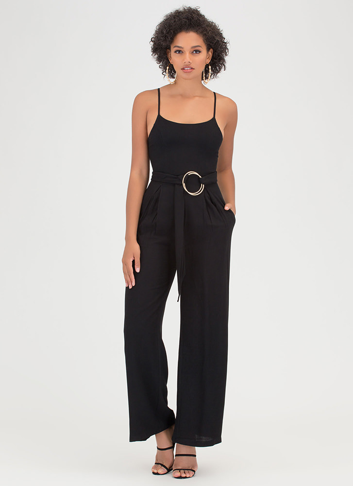 Do Your Thing Pleated Palazzo Jumpsuit BLACK OLIVE - GoJane.com