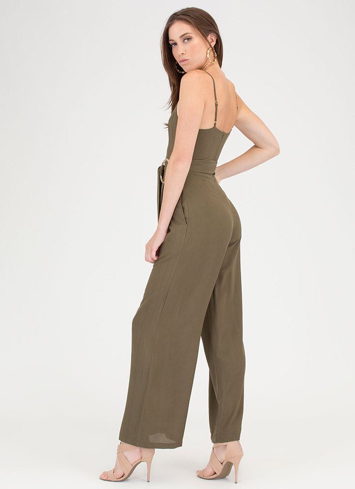 Do Your Thing Pleated Palazzo Jumpsuit OLIVE