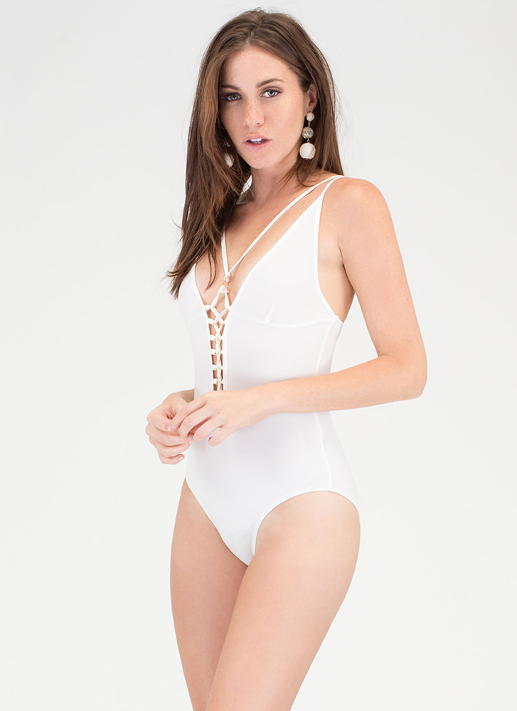 Rollin' In The Deep Lace-Up Bodysuit WHITE (You Saved $15)