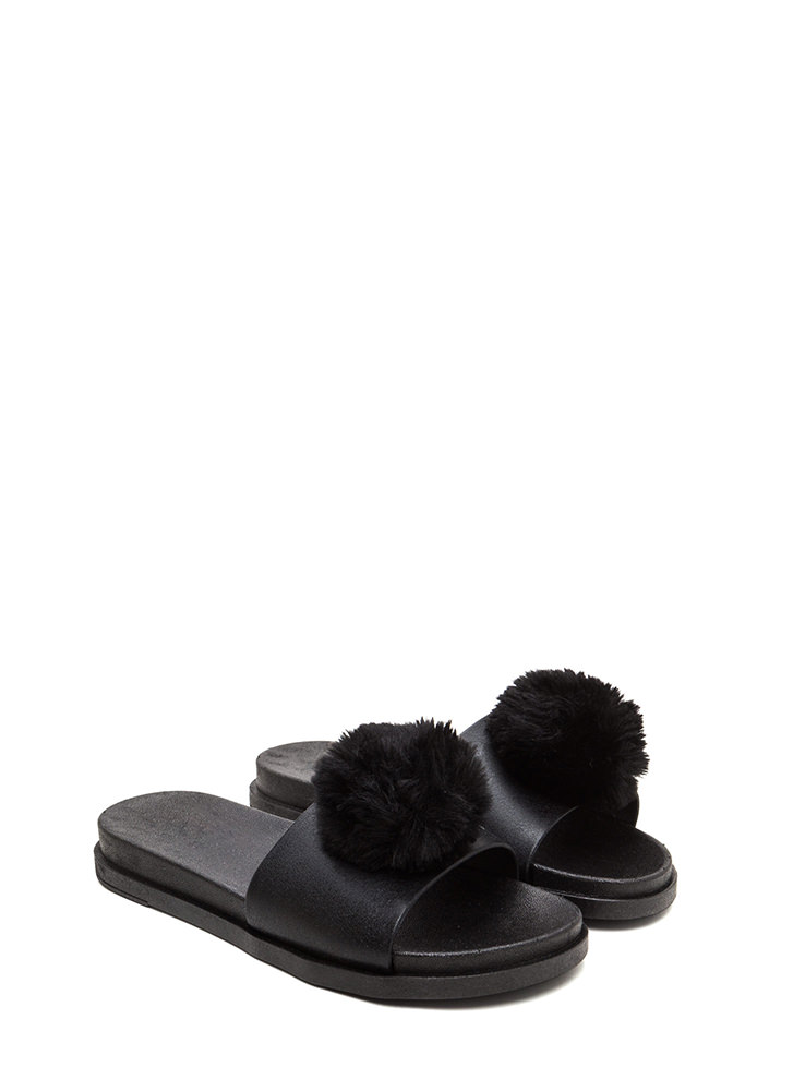 Fur The Better Jelly Slide Sandals BLACK (You Saved $9)