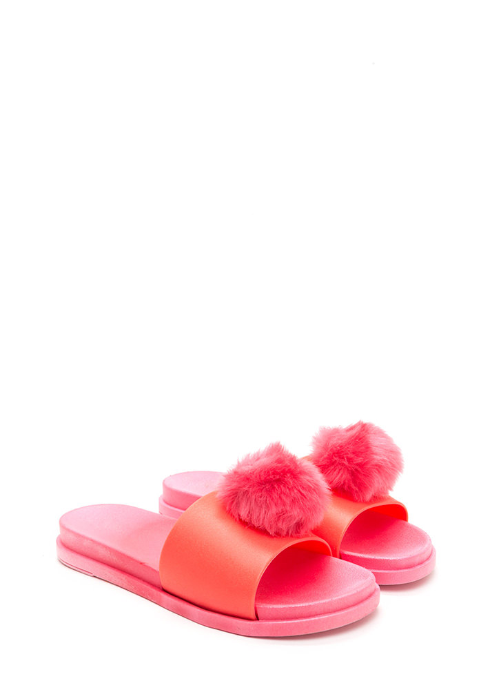 Fur The Better Jelly Slide Sandals CORAL