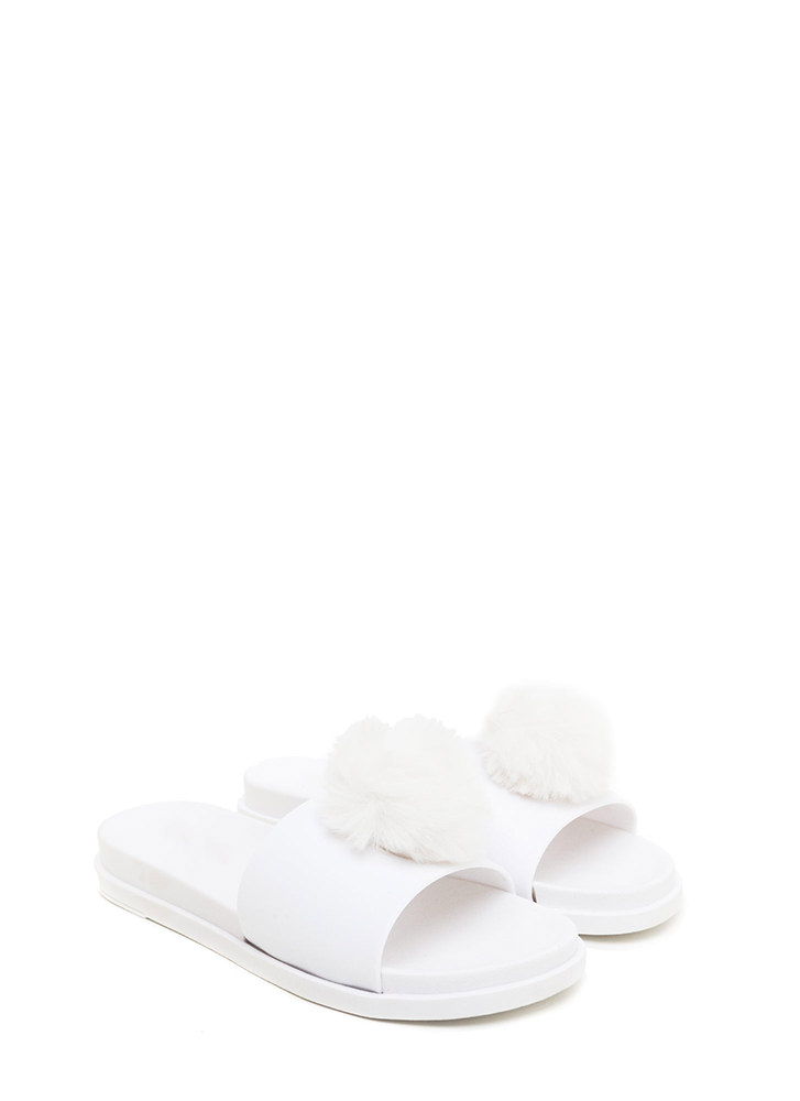 Fur The Better Jelly Slide Sandals WHITE (You Saved $9)