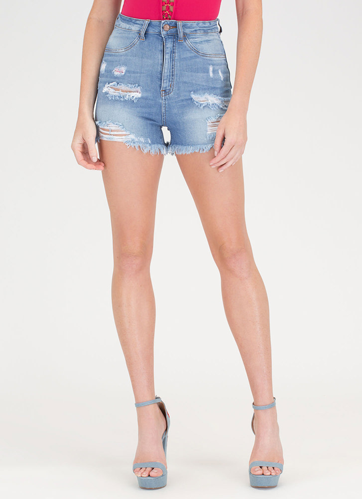Jean Therapy Frayed High-Waisted Shorts BLUE