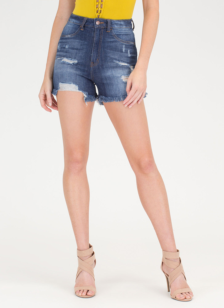 Jean Therapy Frayed High-Waisted Shorts DKBLUE