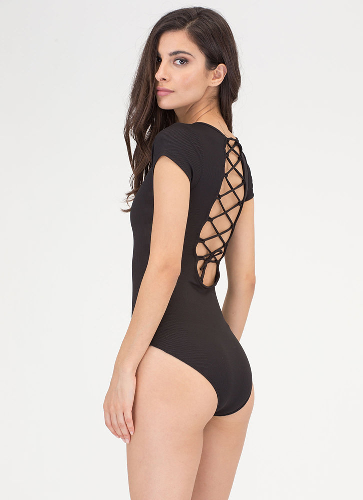 Tied For First Rib Knit Bodysuit BLACK