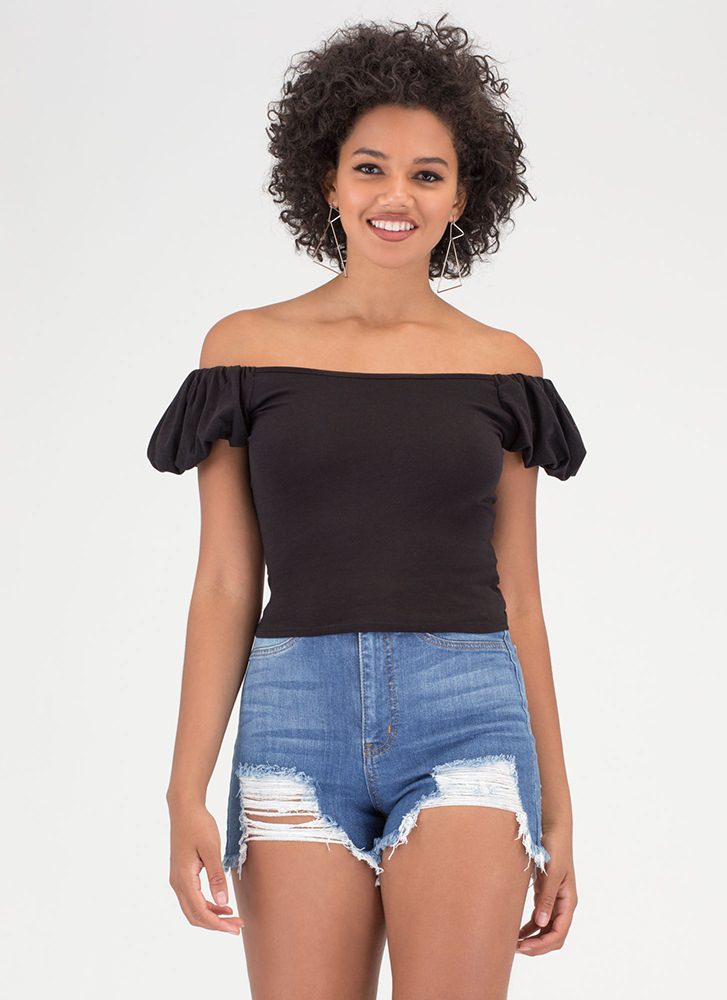 Lunch Date Statement Off-Shoulder Top BLACK