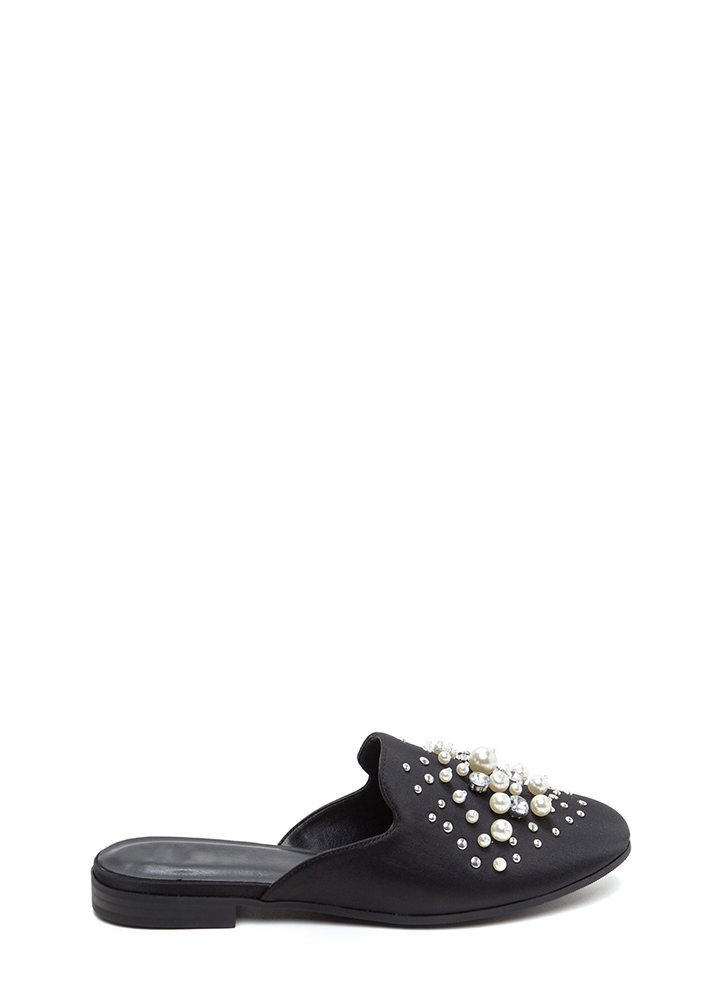 Lap Of Luxury Jeweled Satin Mule Flats BLACK (Final Sale)