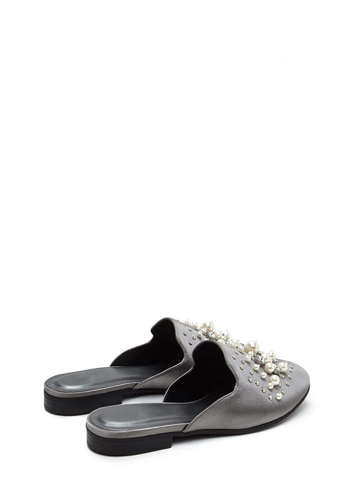 Lap Of Luxury Jeweled Satin Mule Flats GUNMETAL (Final Sale)