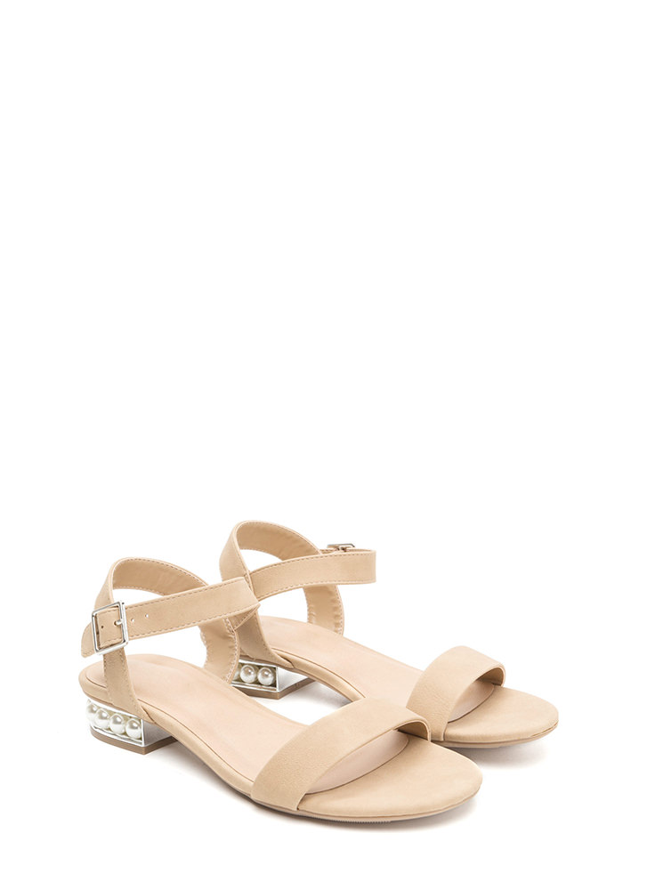Pearl Dive Strappy Faux Nubuck Sandals NATURAL