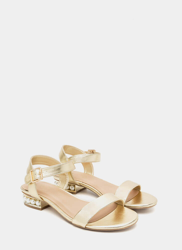 Pearl Dive Strappy Metallic Sandals GOLD