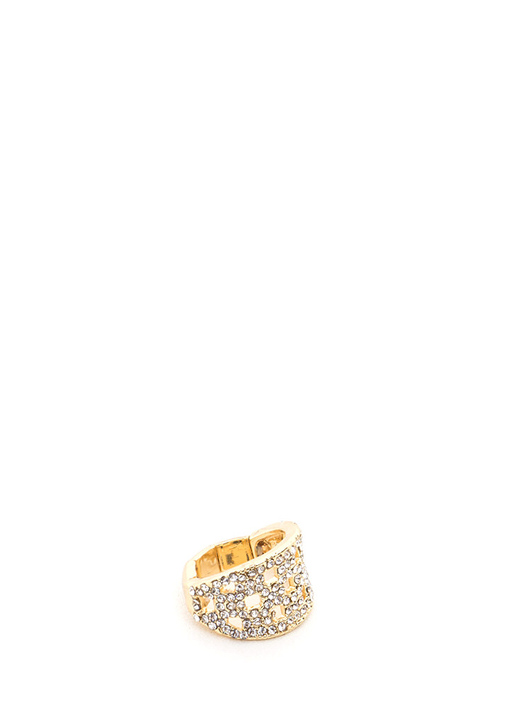 Check It Chunky Jeweled Stretchy Ring GOLD