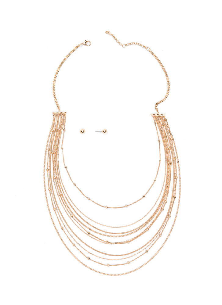 Off The Chains Layered Necklace Set GOLD
