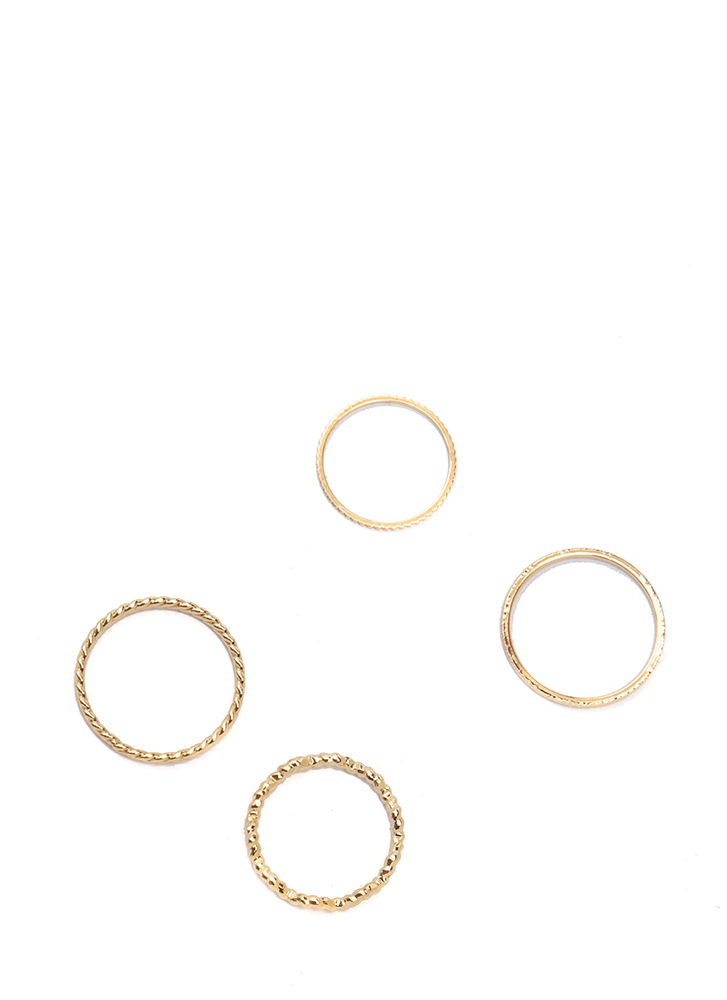 Totally Love-Struck Textured Ring Set GOLD
