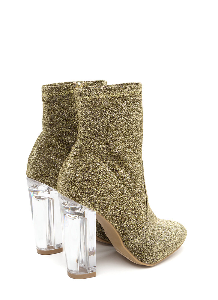 Time To Shine Clear Chunky Booties GOLD (Final Sale)