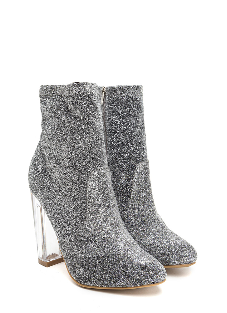 Time To Shine Clear Chunky Booties SILVER