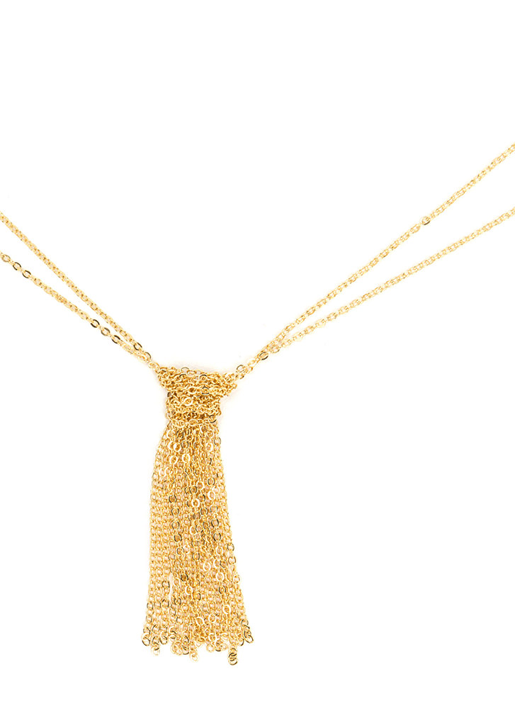 Insane In The Chain Tassel Necklace GOLD