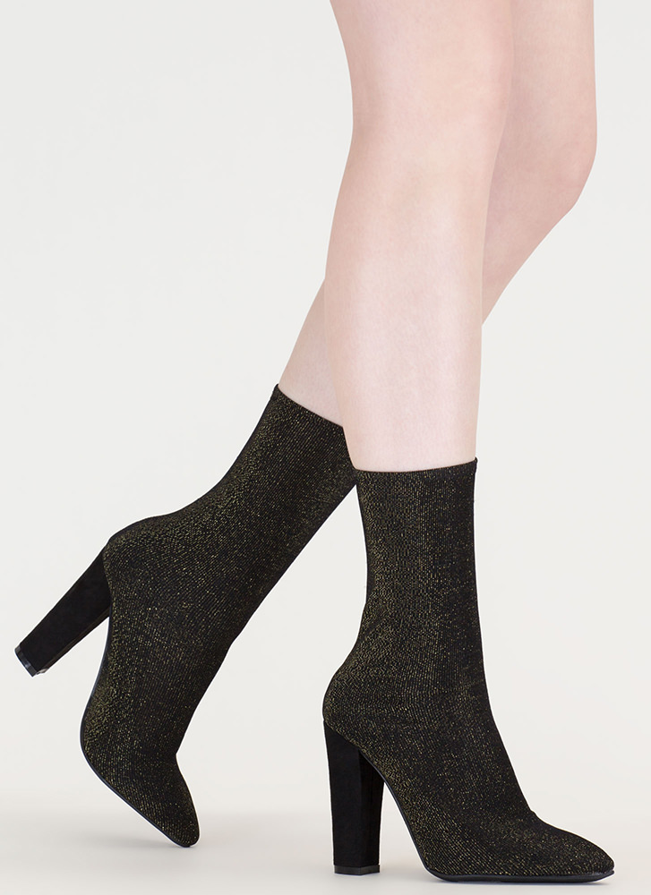 Hint Of Glint Pointy Metallic Booties GOLD