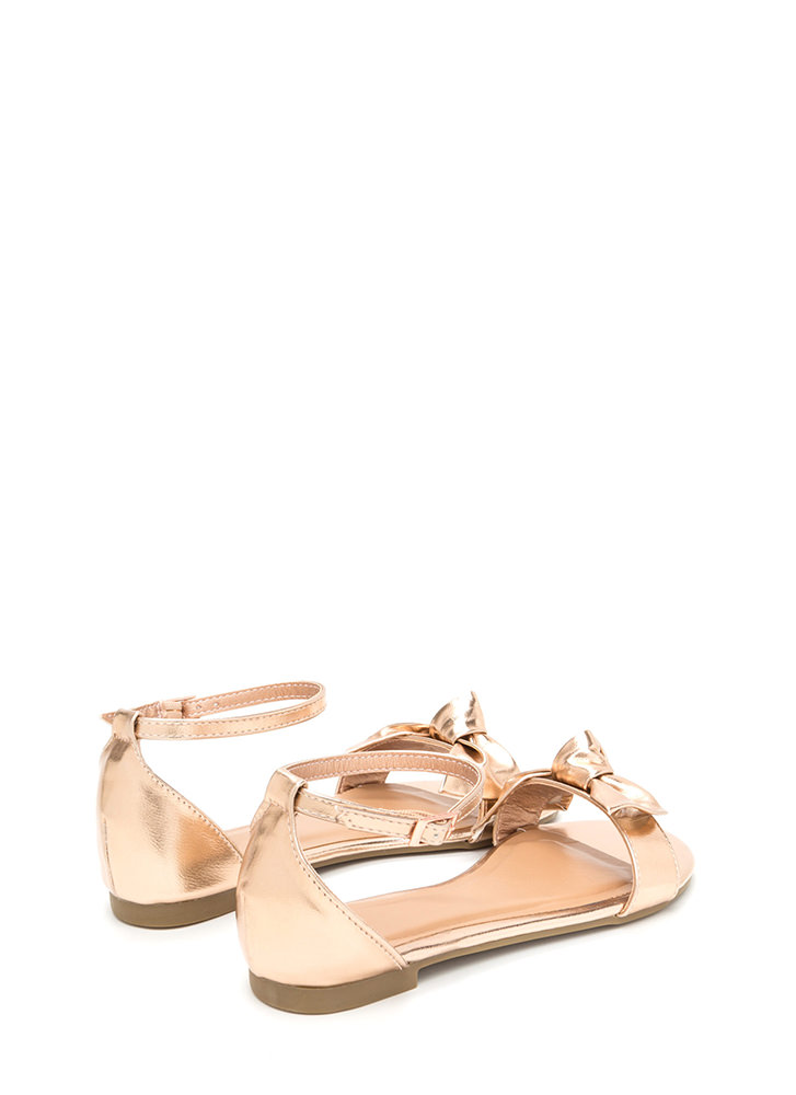 Bow For Gold Strappy Metallic Sandals ROSEGOLD