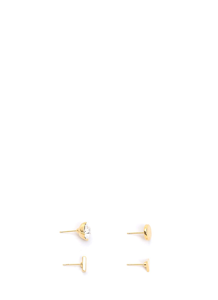 Shape Up Sparkly Earring Set GOLD