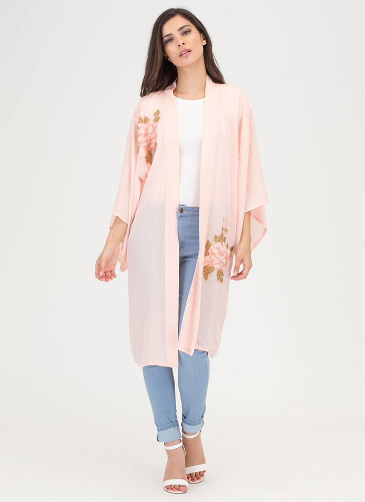 You Grow Girl Floral Embroidered Kimono PEACH