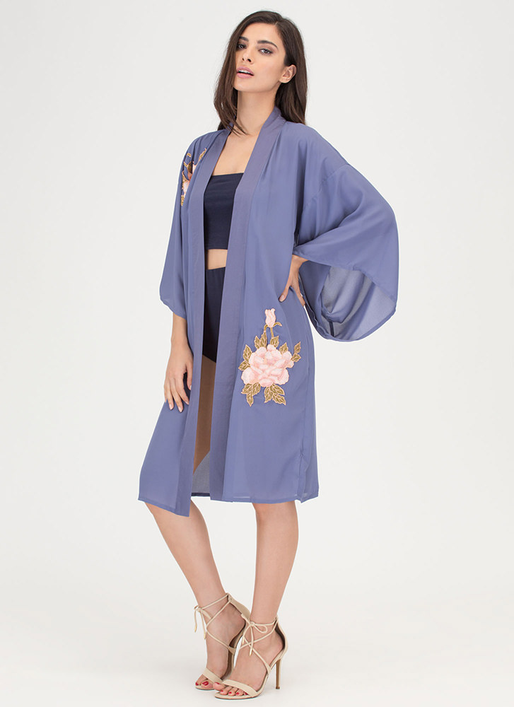 You Grow Girl Floral Embroidered Kimono SLATE