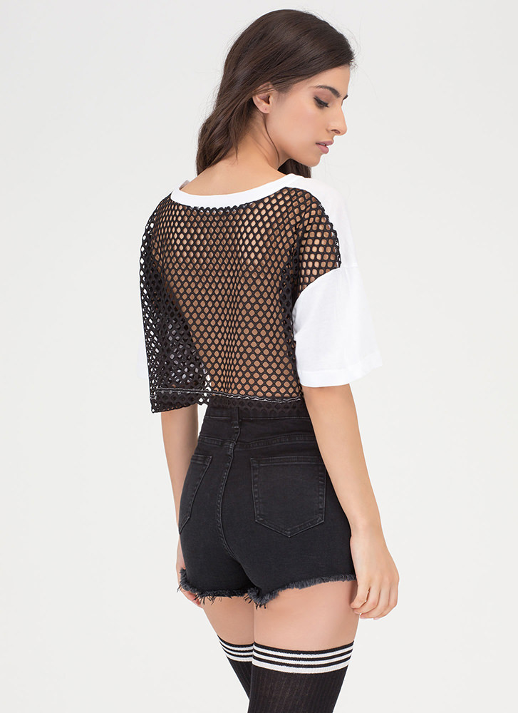 American Made Netted Back Crop Top WHITE