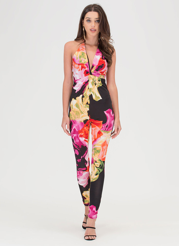 Colorful Character Abstract Jumpsuit BLACKRED