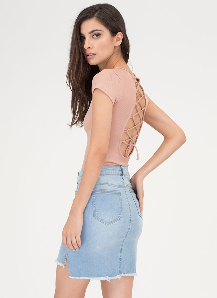 Fray For Keeps High-Low Denim Skirt LTBLUE