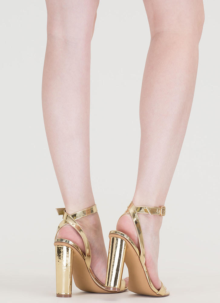 Tres Chic Strappy Metallic Heels GOLD