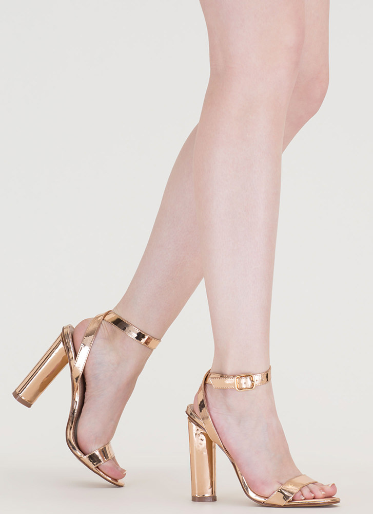 Tres Chic Strappy Metallic Heels ROSEGOLD