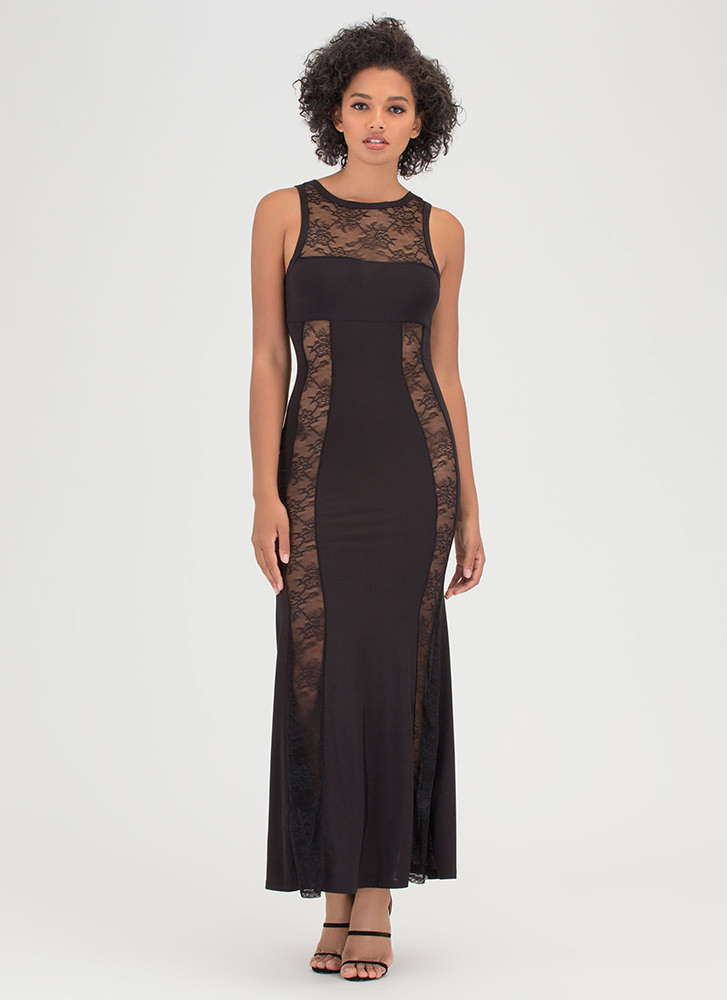 Sheer Luck Lace Inset Maxi Dress BLACK