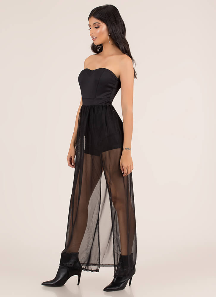 Sheer Brilliance Strapless Maxi Dress BLACK