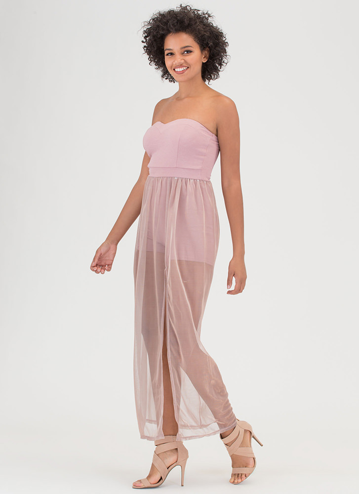 Sheer Brilliance Strapless Maxi Dress MAUVE