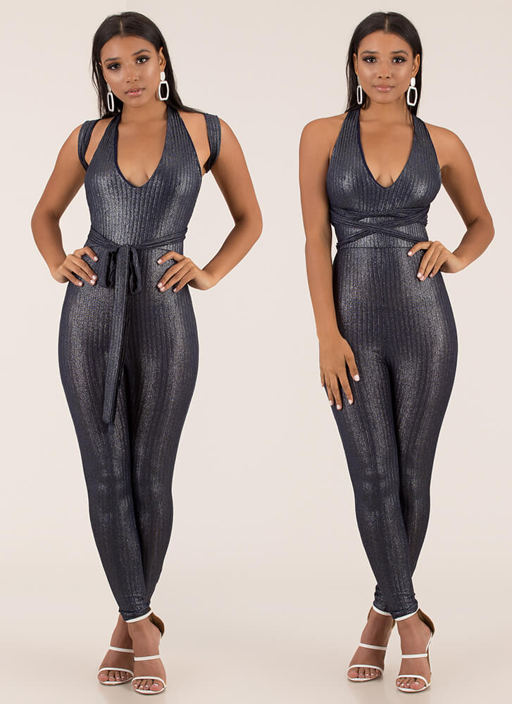 Seductive Shine Convertible Jumpsuit NAVY