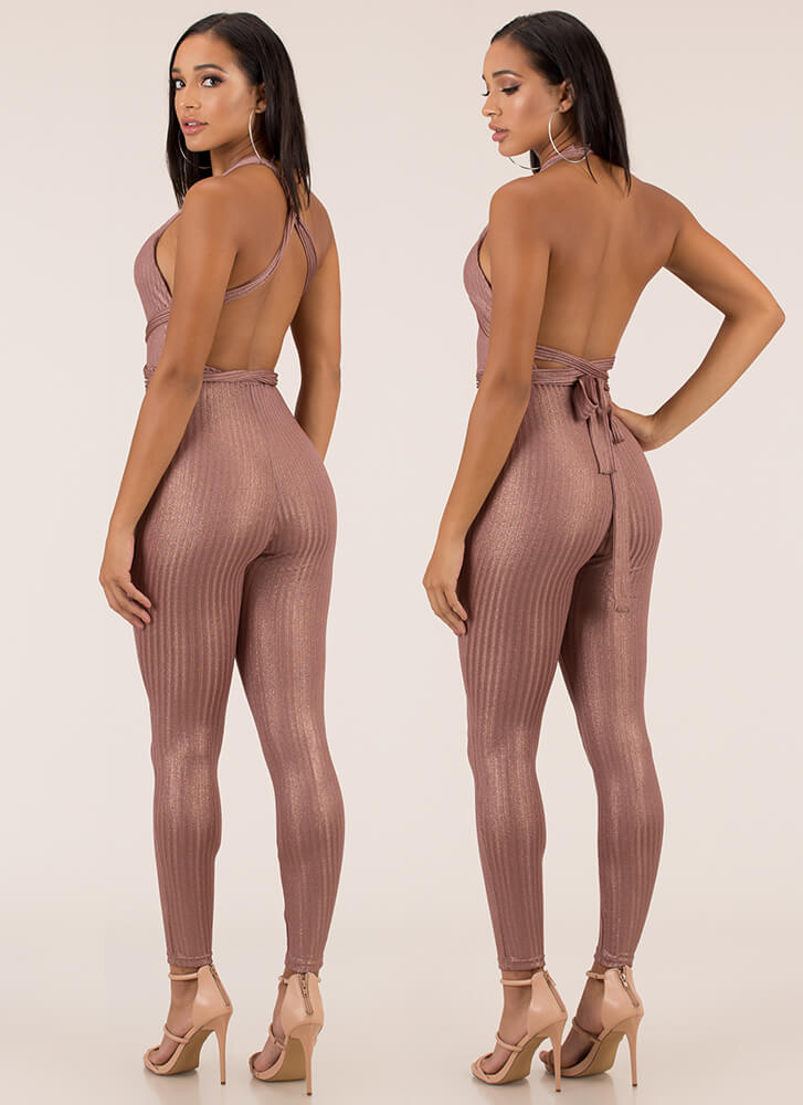 Seductive Shine Convertible Jumpsuit ROSEGOLD