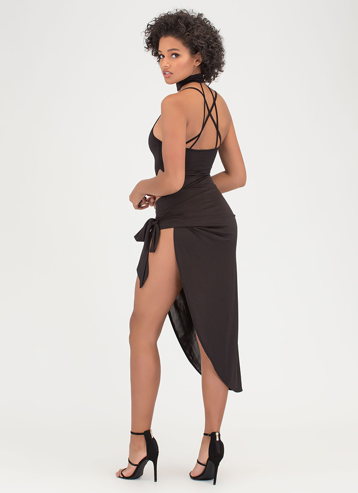 Turn The Tied Caged Asymmetrical Dress BLACK (Final Sale)