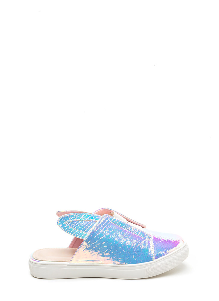 Hop To It Shiny Snakeskin Slide Sneakers PINK