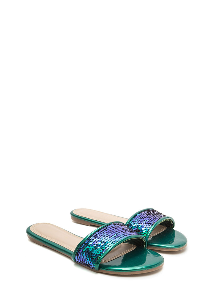 Style Icon Sequin Slide Sandals GREEN