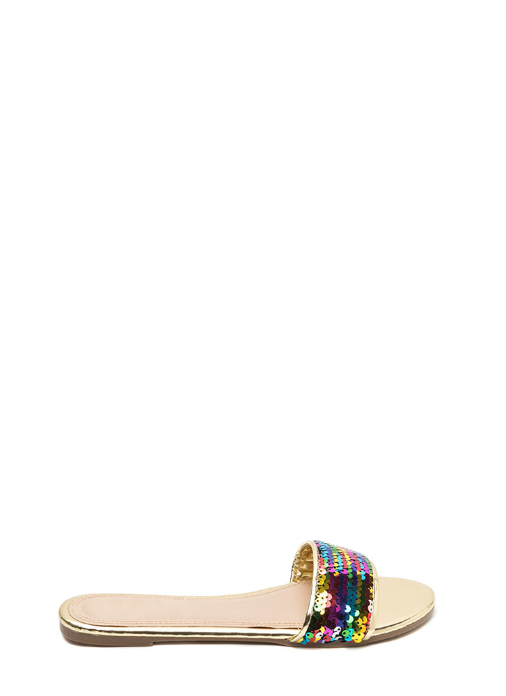 Over The Rainbow Sequin Slide Sandals RAINBOW (Final Sale)