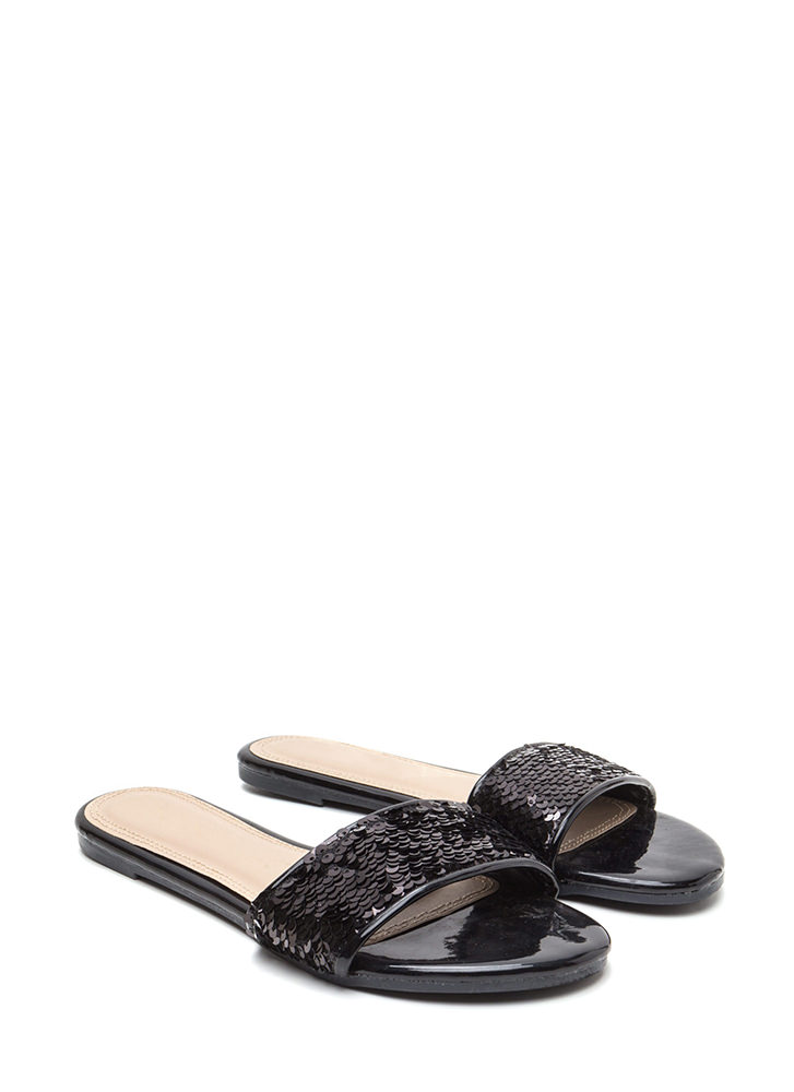 Style Icon Shiny Sequin Slide Sandals BLACK