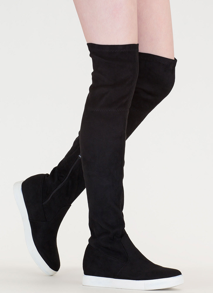 Go For It Faux Suede Thigh-High Boots BLACK