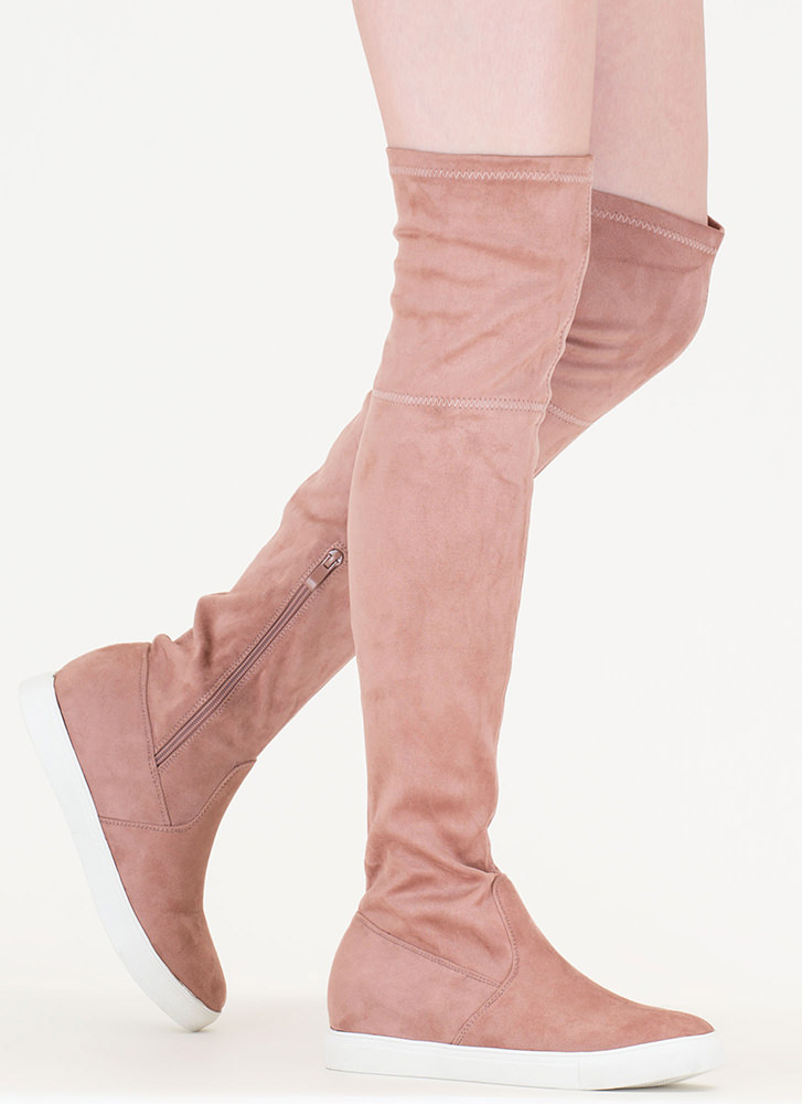 Go For It Faux Suede Thigh-High Boots MAUVE