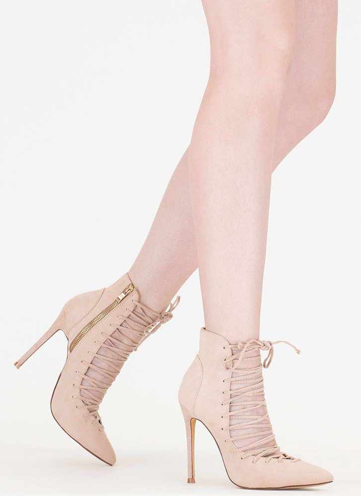 Day At The Laces Pointy Faux Suede Heels NUDE