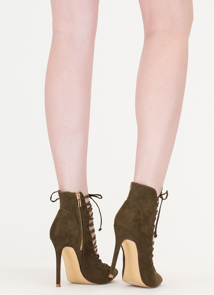 Day At The Laces Pointy Faux Suede Heels OLIVE