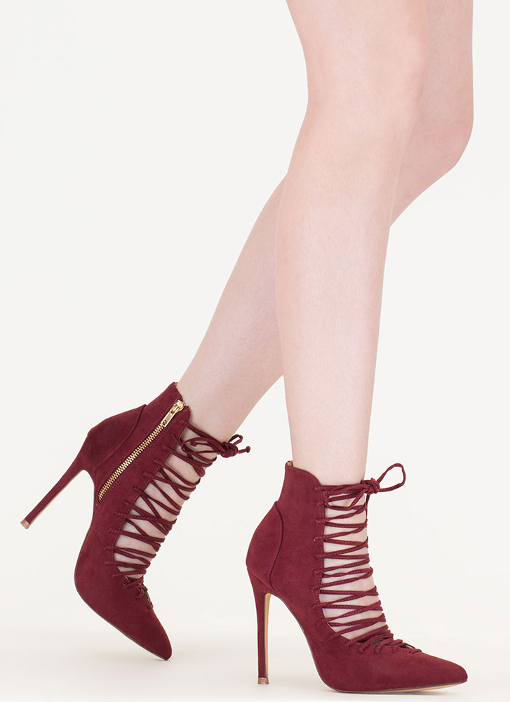 Day At The Laces Pointy Faux Suede Heels WINE