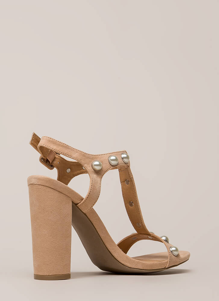 Treasure Hunt Chunky Faux Pearl Heels  ALMOND
