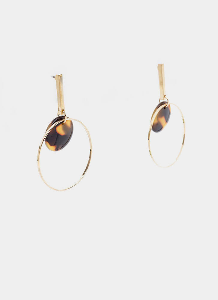 Bar With Me Hoop Earrings GOLDBROWN (Final Sale)