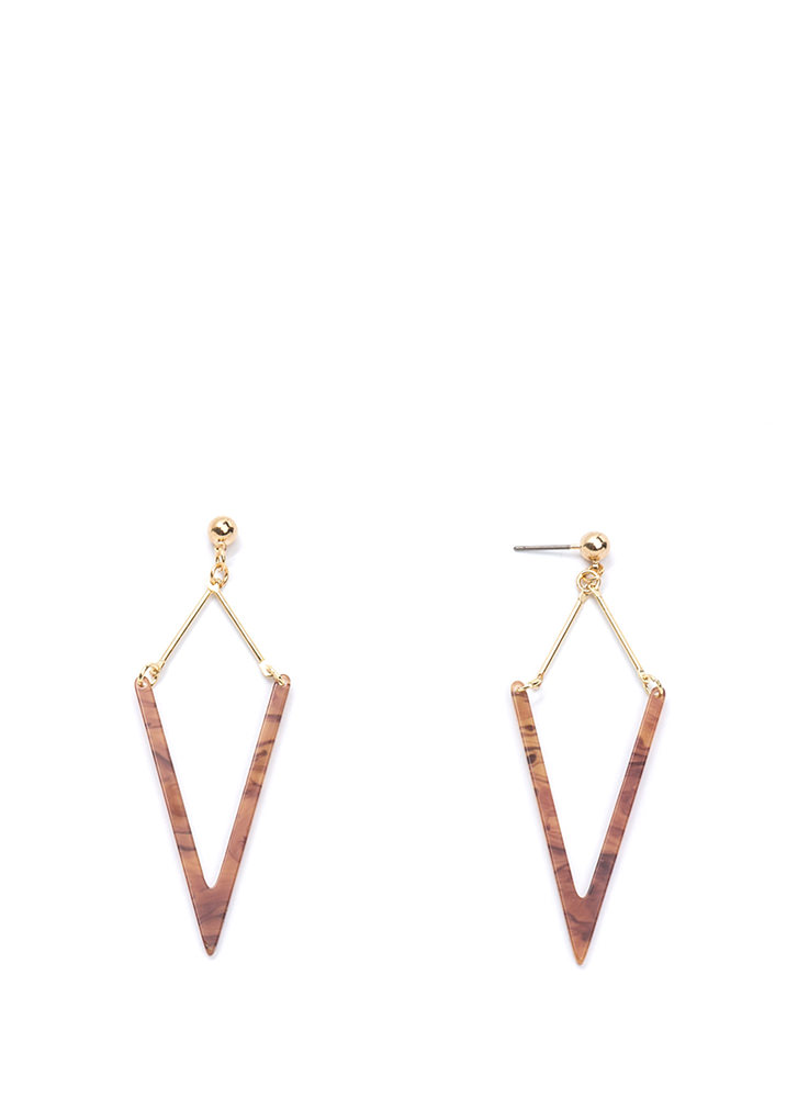 Heavenly Angle Faux Stone Earrings BROWNGOLD