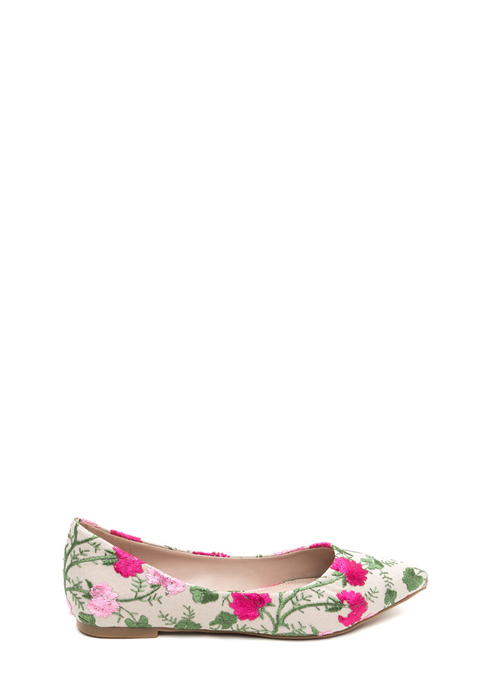 My Floral Lady Pointy Embroidered Flats NUDE (Final Sale)